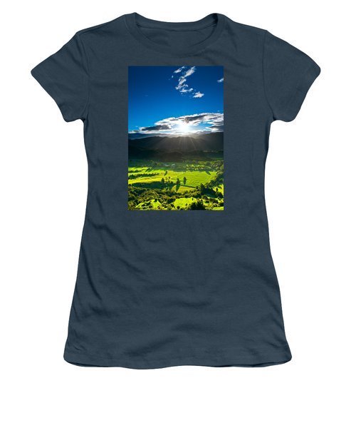 Sunrays Flood Farmland During Sunset Women's T-Shirt (Junior Cut) by Ulrich Schade