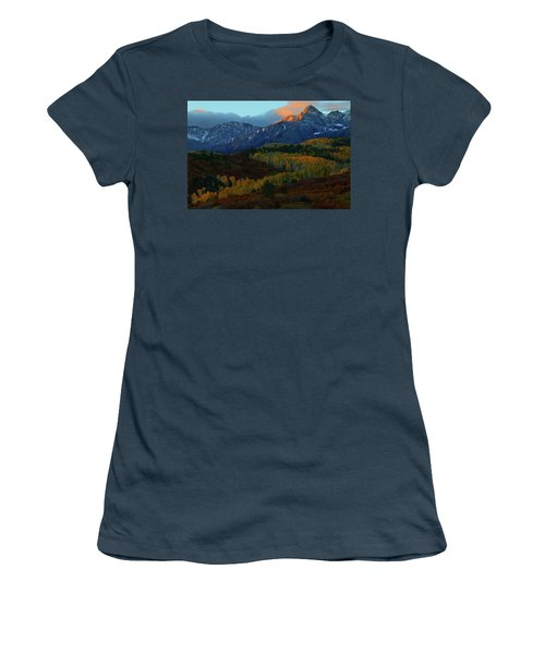 Women's T-Shirt (Junior Cut) featuring the photograph Sunrise At Dallas Divide During Autumn by Jetson Nguyen
