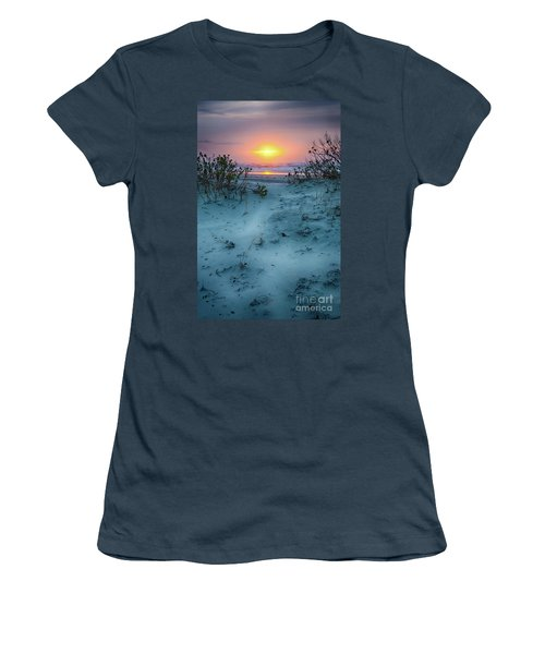 Women's T-Shirt (Junior Cut) featuring the photograph Sunrise Hike On The Outer Banks by Dan Carmichael