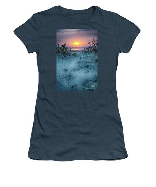 Sunrise Hike On The Outer Banks Women's T-Shirt (Junior Cut) by Dan Carmichael