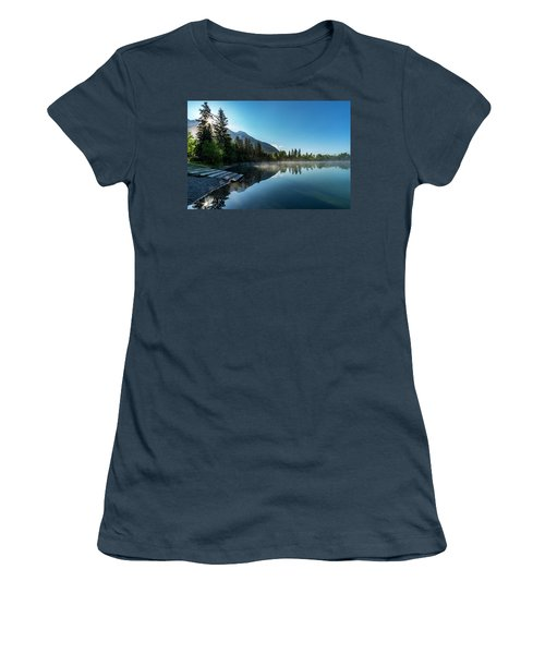 Women's T-Shirt (Junior Cut) featuring the photograph Sunrise Over The Mountain And Through The Tree by Darcy Michaelchuk
