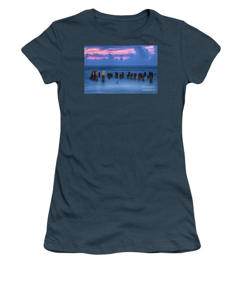 Women's T-Shirt (Junior Cut) featuring the photograph Sunrise Wharf On Ocracoke Island Outer Banks by Dan Carmichael