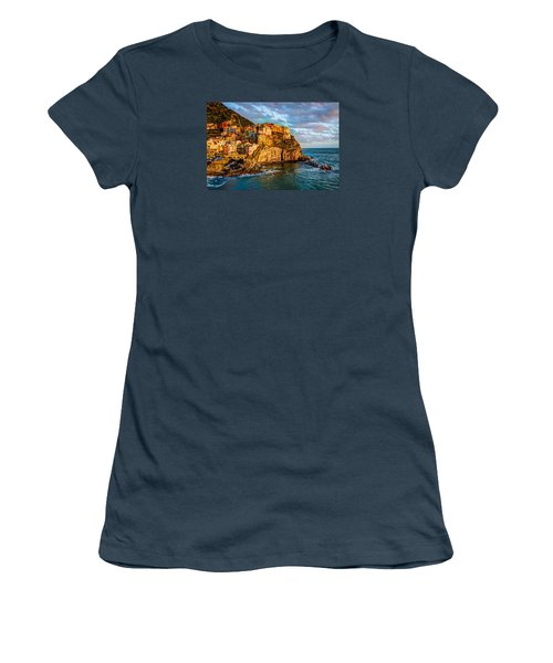 Women's T-Shirt (Junior Cut) featuring the photograph Sunset In Manarola by Wade Brooks