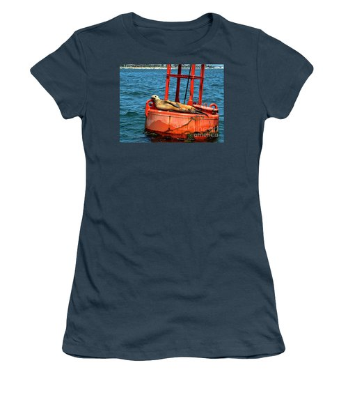 Women's T-Shirt (Junior Cut) featuring the photograph Tanning Sea Lion On Buoy by Mariola Bitner