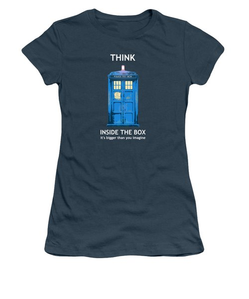 Tardis - Think Inside The Box Women's T-Shirt (Junior Cut) by Richard Reeve