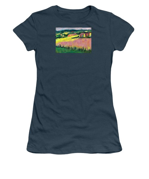 Women's T-Shirt (Junior Cut) featuring the painting The Hills Are Alive by Betty Pieper