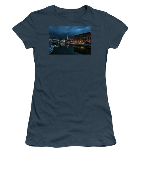 The Little Harbor In Stralsund Women's T-Shirt (Junior Cut) by Martina Thompson