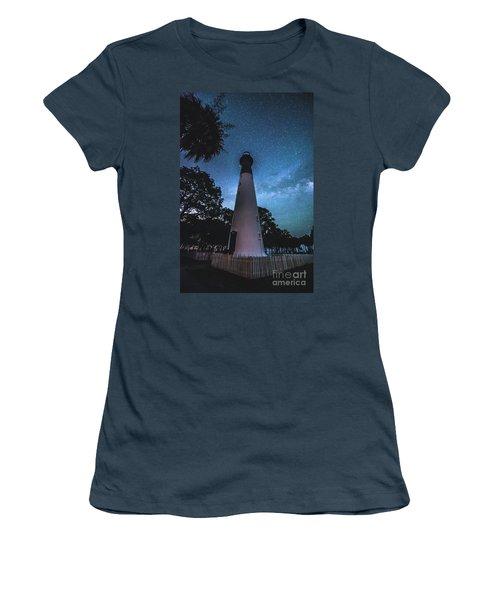 The Milky Way At Saint Helena Light House Women's T-Shirt (Junior Cut) by Robert Loe