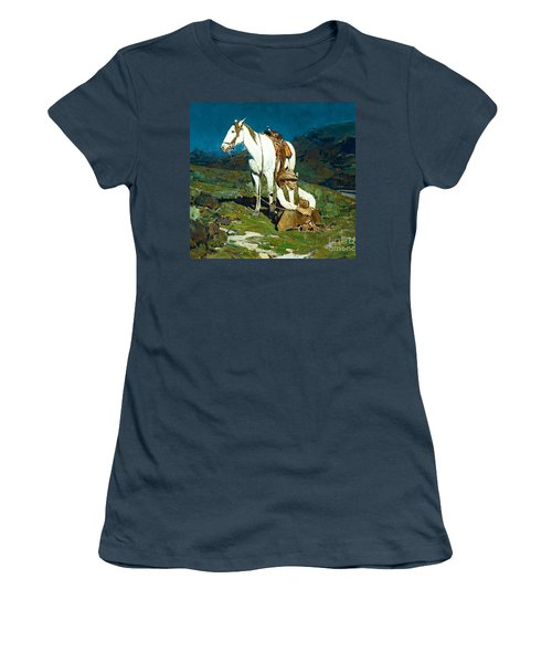 Women's T-Shirt (Junior Cut) featuring the painting The Night Hawk by Pg Reproductions