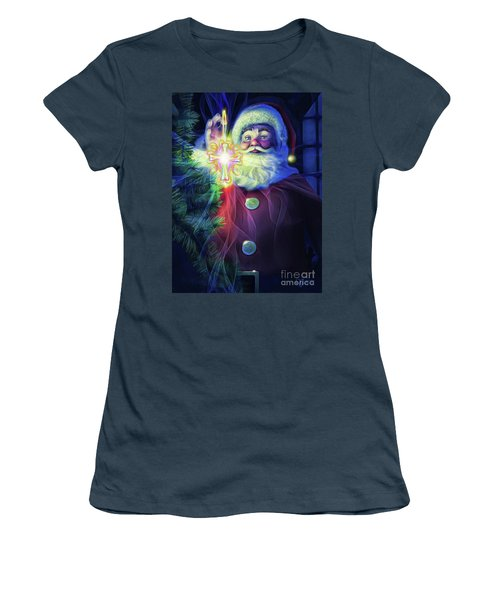 Women's T-Shirt (Junior Cut) featuring the painting The True Spirit Of Christmas - Bright by Dave Luebbert