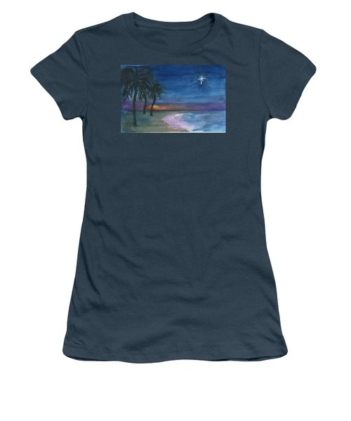 Women's T-Shirt (Junior Cut) featuring the painting Tropical Christmas by Donna Walsh