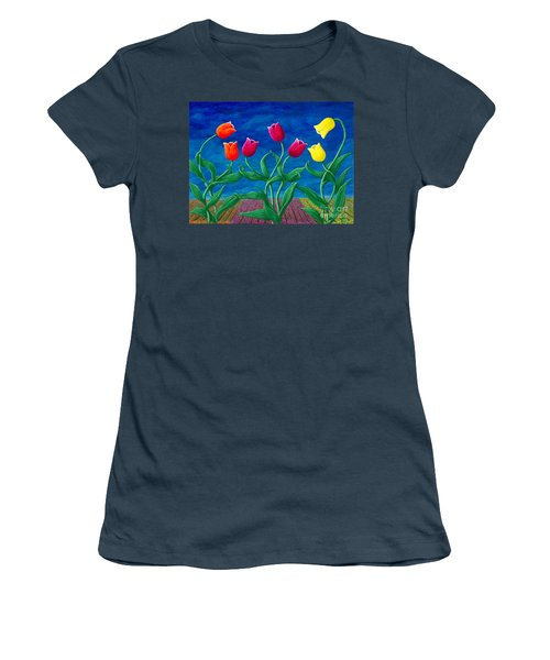 Tulip Tango Women's T-Shirt (Junior Cut) by Rebecca Parker
