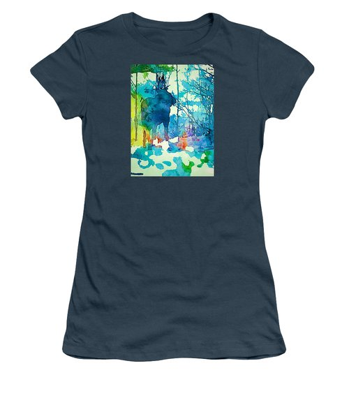 Turquoise Moose Women's T-Shirt (Junior Cut) by Jan Amiss Photography