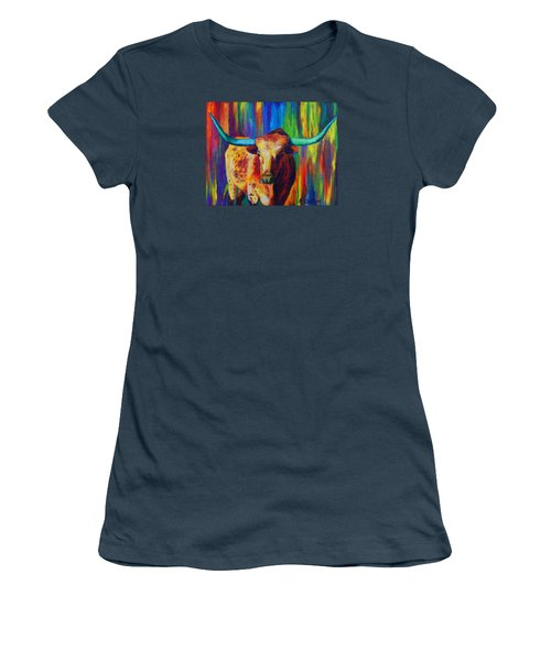 Women's T-Shirt (Junior Cut) featuring the painting Uptown Longhorn by Karen Kennedy Chatham