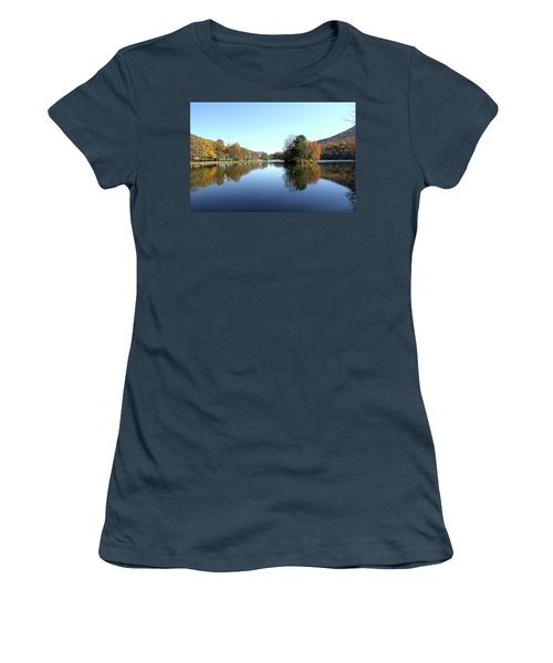 View Of Abbott Lake With Trees On Island, In Autumn Women's T-Shirt (Junior Cut) by Emanuel Tanjala