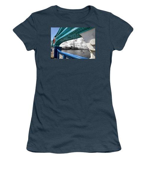 View Through Tower Bridge Women's T-Shirt (Junior Cut) by Shirley Mitchell