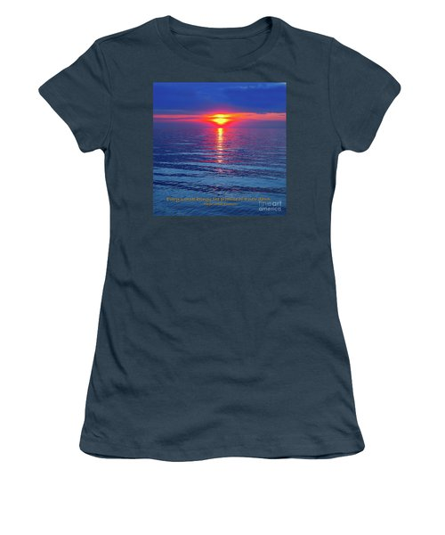 Women's T-Shirt (Junior Cut) featuring the photograph Vivid Sunset - Emerson Quote - Square Format by Ginny Gaura