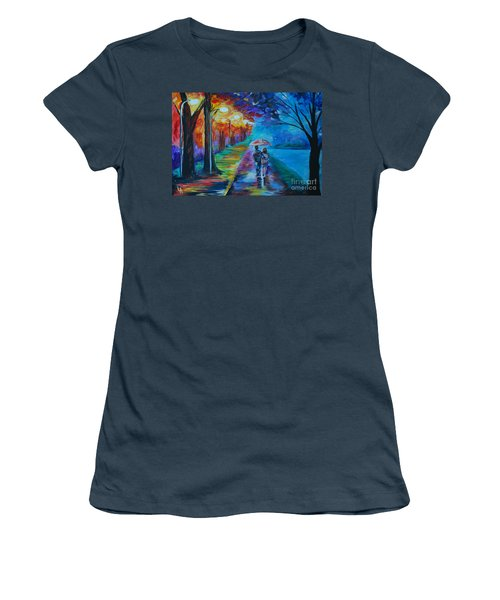 Women's T-Shirt (Junior Cut) featuring the painting Walk By The Lake  by Leslie Allen