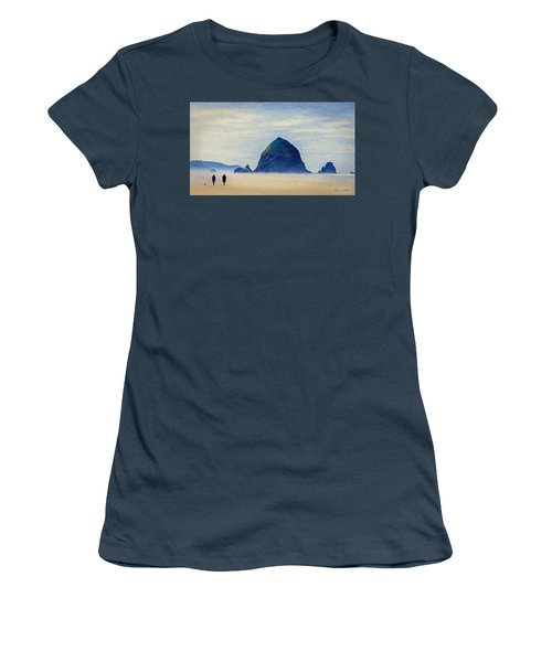 Women's T-Shirt (Junior Cut) featuring the painting Walk On The Beach by Jeff Kolker
