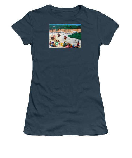 Washing Clothes By The Riverside In Haiti Women's T-Shirt (Junior Cut) by Nicole Jean-Louis