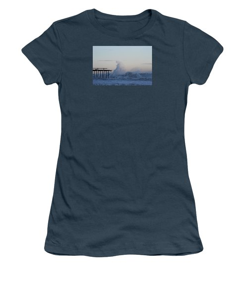 Wave Towers Over Oc Fishing Pier Women's T-Shirt (Junior Cut) by Robert Banach