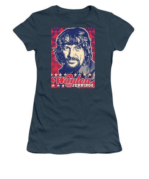 Waylon Jennings Pop Art Women's T-Shirt (Junior Cut) by Jim Zahniser