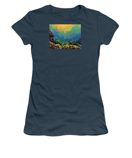 Women's T-Shirt (Junior Cut) featuring the painting When The Sun Is Looking Into The Sea by AmaS Art