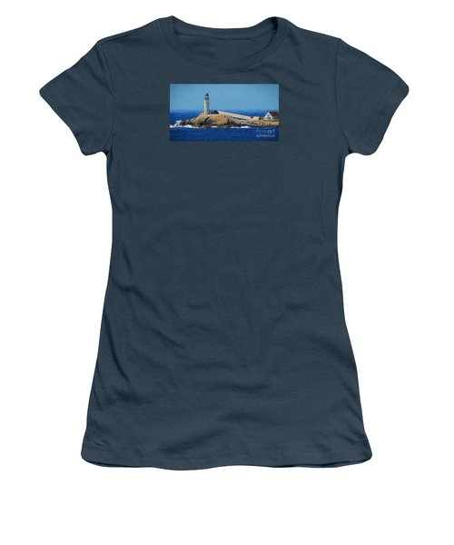 Women's T-Shirt (Junior Cut) featuring the painting White Island Lighthouse by Mim White