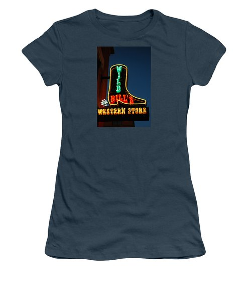 Women's T-Shirt (Junior Cut) featuring the photograph Wild Bills Western Store by James Kirkikis