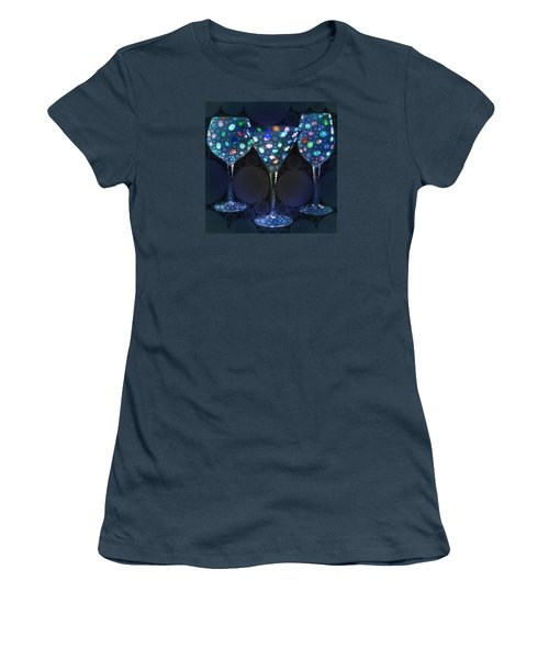Women's T-Shirt (Junior Cut) featuring the digital art Wine Glass Art-4 by Nina Bradica