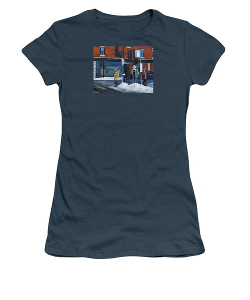 Winter Bus Stop Women's T-Shirt (Junior Cut) by Reb Frost