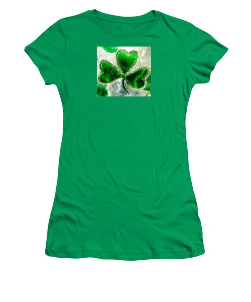 A Shamrock On Ice Women's T-Shirt (Junior Cut) by Angela Davies