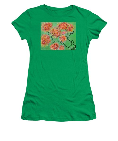 Women's T-Shirt (Junior Cut) featuring the painting Fireworks by Alys Caviness-Gober