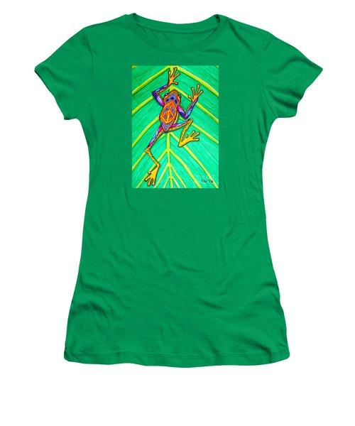 Peace Frog Women's T-Shirt (Junior Cut) by Nick Gustafson