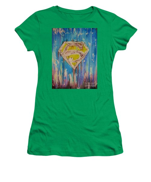 Women's T-Shirt (Junior Cut) featuring the painting Superman's Shield by Justin Moore