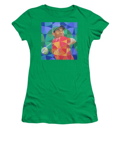 Women's T-Shirt (Junior Cut) featuring the drawing Tiger Woods by Joshua Morton