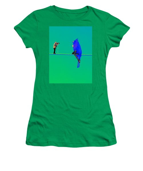 Women's T-Shirt (Junior Cut) featuring the painting Birdwatcher by David Mckinney