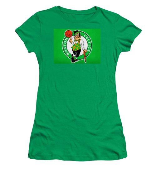 Boston Celtics Canvas Women's T-Shirt (Junior Cut) by Dan Sproul