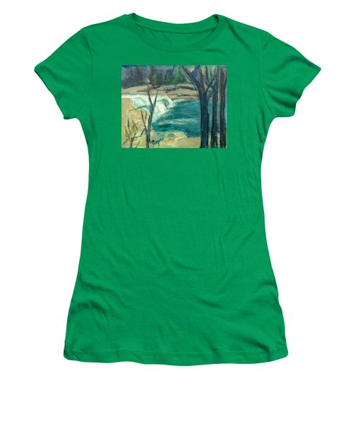 Women's T-Shirt (Junior Cut) featuring the painting Canajoharie Creek Near Village by Betty Pieper