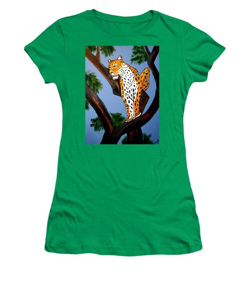 Cat On A Hot Wood Tree Women's T-Shirt (Athletic Fit)