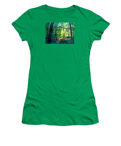Women's T-Shirt (Junior Cut) featuring the painting Forest Scene 1 by Kathy Braud
