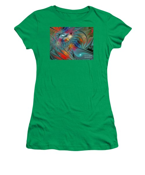 Fresh Mints And Cool Blues-abstract Fractal Art Women's T-Shirt