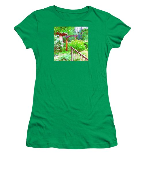Garden Path With Arbor Women's T-Shirt (Athletic Fit)