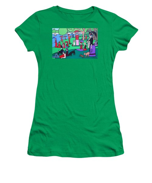 George Seurat- A Cyclops Sunday Afternoon On The Island Of La Grande Jatte Women's T-Shirt (Junior Cut) by Thomas Valentine