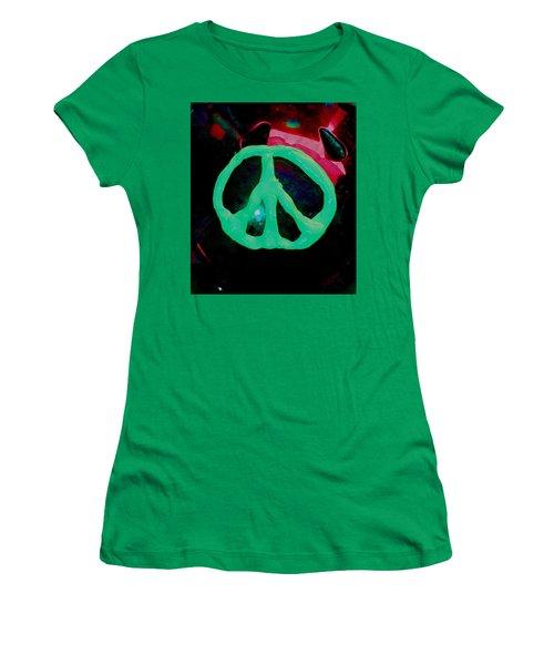 Peace Symbol Women's T-Shirt (Junior Cut) by Dan Twyman