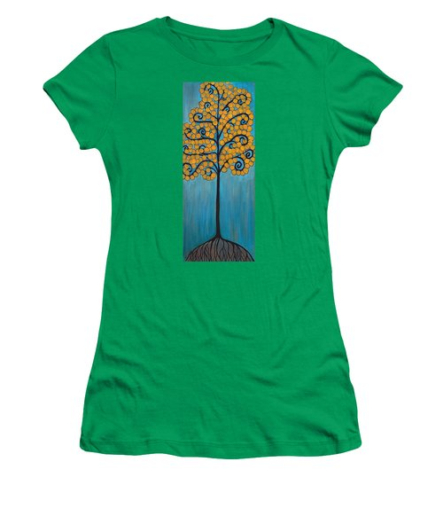 Happy Tree In Blue And Gold Women's T-Shirt