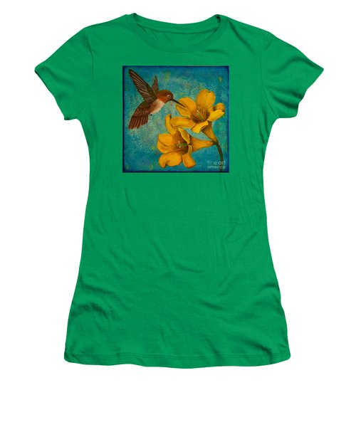 Hummingbird With Yellow Jasmine Women's T-Shirt (Athletic Fit)