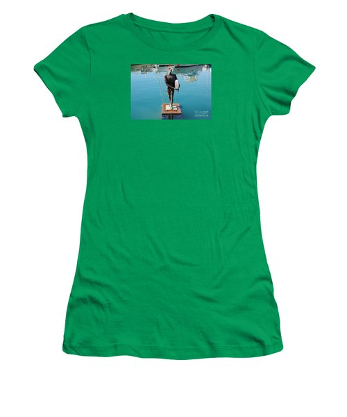 Women's T-Shirt (Junior Cut) featuring the photograph Icarus With His Surfboard by Linda Prewer