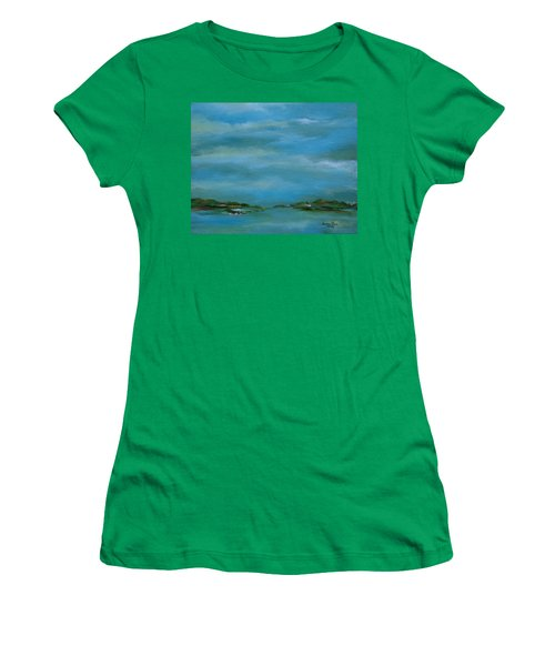 Women's T-Shirt (Junior Cut) featuring the painting Lake Wallenpaupack Early Morning by Judith Rhue