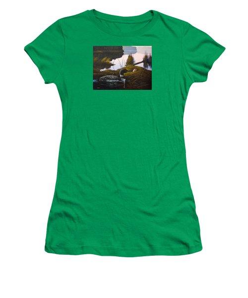 Loon Lake Women's T-Shirt (Junior Cut) by Richard Faulkner